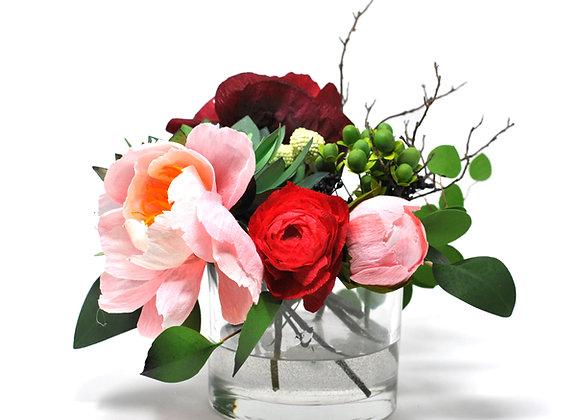 Blush Peony + Ruby Ranunculus Rustic Blooms Mix
