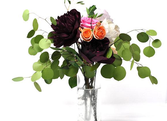 Romantic Black Bomb Peony and Eucalyptus Grandeur