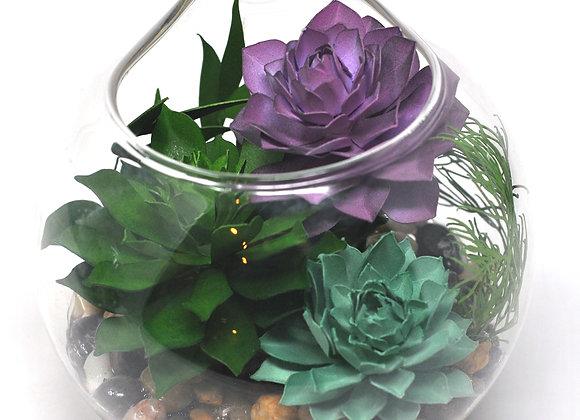 Teardrop Terrarium Ornament II | Mint + Purple Succulent Collection