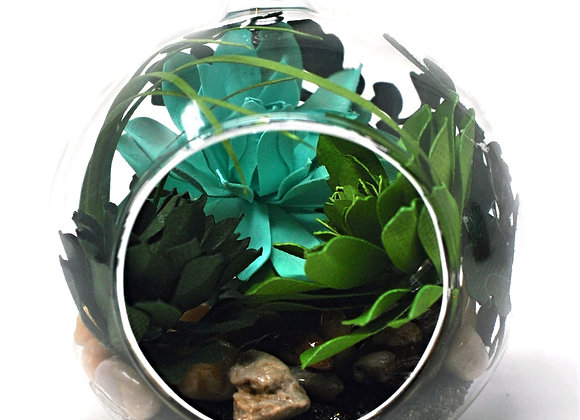 Mini Succulent Terrarium Ornament |  Teal Succulent Collection