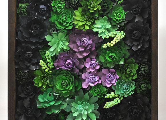 Large Framed Succulent Wall Garden - Purple+ Green