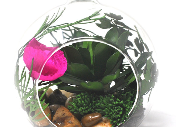 Mini Succulent Terrarium Ornament |  Hot Pink Flower Collection