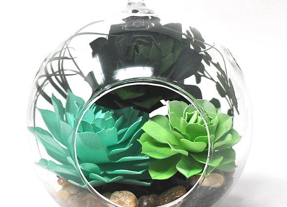 Medium Terrarium Ornament |  Vibrant Green Succulents I