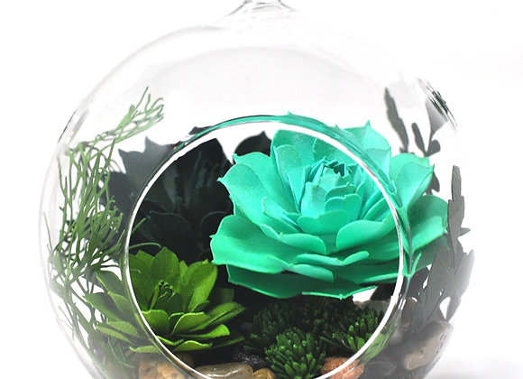 Medium Terrarium Ornament | Teal + Green Succulents II