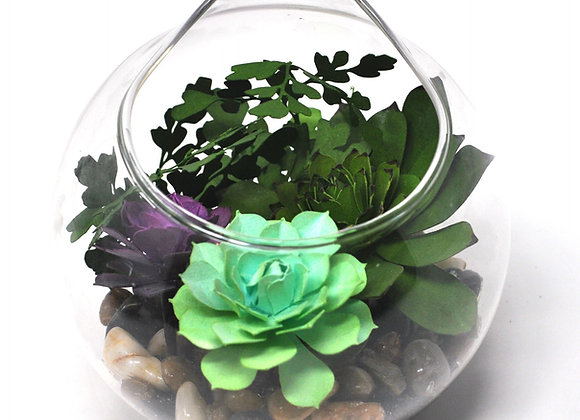 Teardrop Terrarium Ornament I | Mint + Purple Succulent Collection