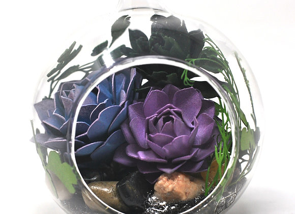 Mini Succulent Terrarium Ornament |  Purple Succulent Collection