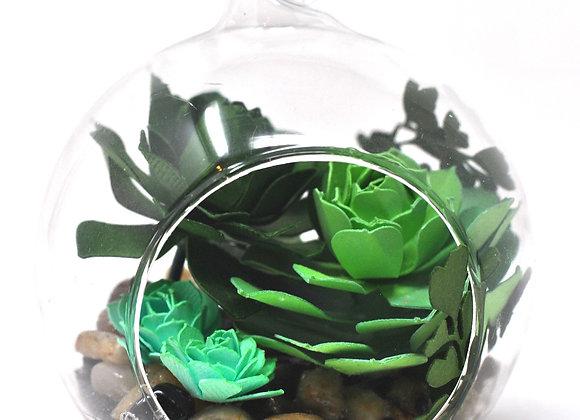 Mini Succulent Terrarium Ornament |  Teal + Sage Succulent Collection