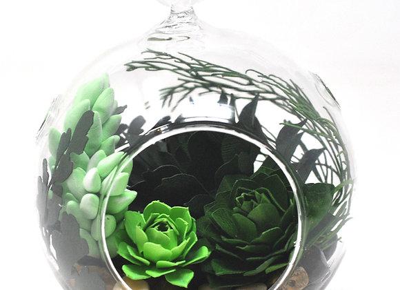 Medium Terrarium Ornament |  Green + Purple Succulents II