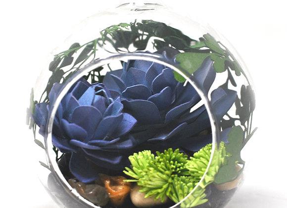 Mini Succulent Terrarium Ornament |  Purple Succulent Collection