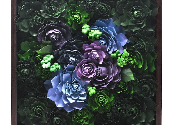 Medium Framed Succulent Garden - Purple + Vibrant Green