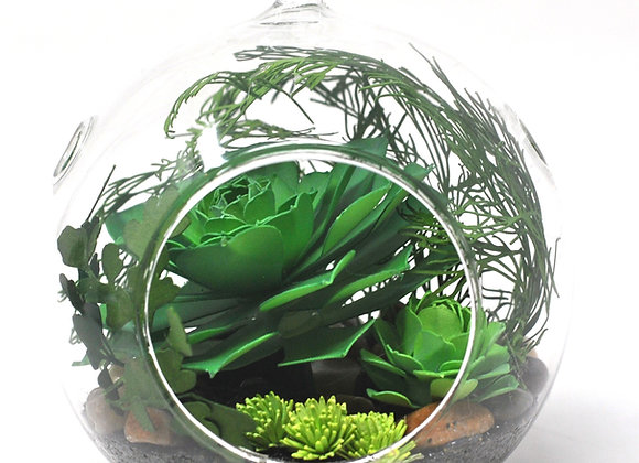 Medium Terrarium Ornament |  Vibrant Green + Yellow Succulents III
