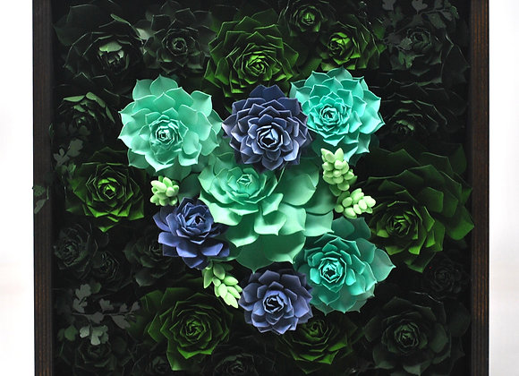 Medium Framed Succulent Garden - Light Blue +Green II