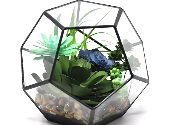 Large Geo Terrarium | Jade + Purple Echevaria