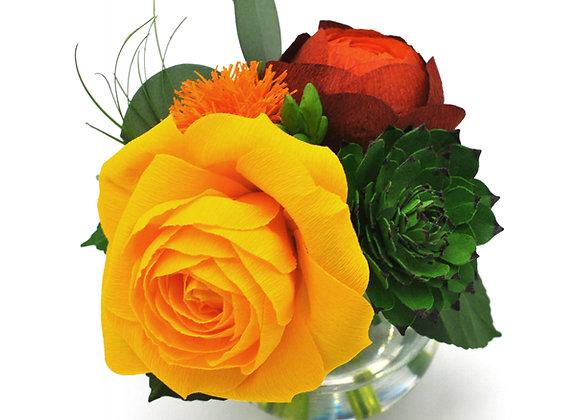 Mini Sunshine Rose +Succulent Bouquet