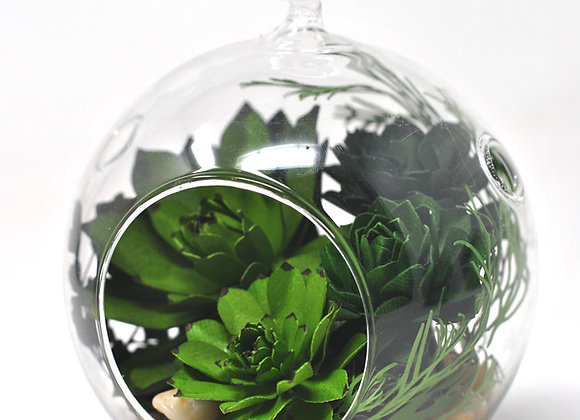 Medium Terrarium Ornament |  Green + Purple Succulents III