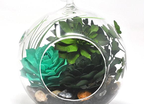 Medium Terrarium Ornament | Teal + Green Succulents