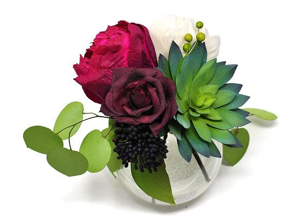 Magenta Heirloom Peony + Green Prince Echevaria Garden Blooms