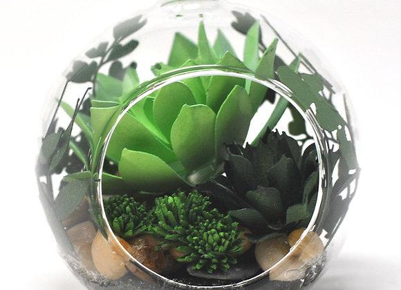 Mini Succulent Terrarium Ornament |  Teal Succulent Collection