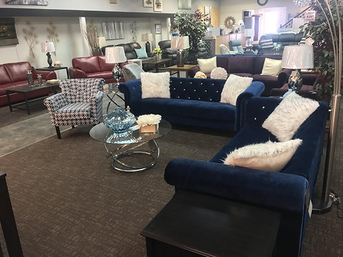 Beautiful Blue Chenille Sofa & Love Seat