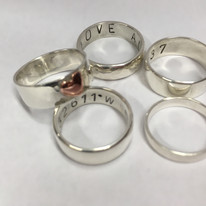 Sterling silver rings with letter punche