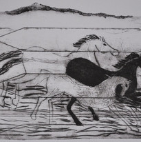 Jacob Taghioff -Horses running drypoint