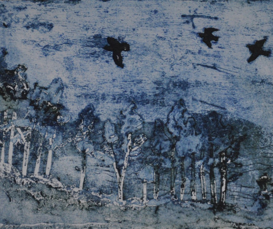 Jacob Taghioff - Birds flying collograph
