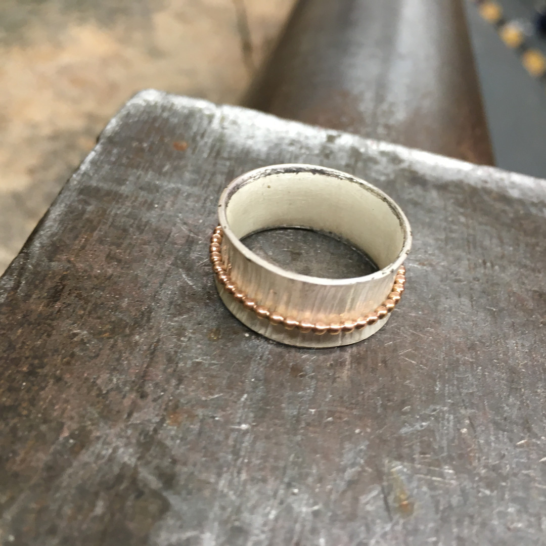 Sterling silver and gold spinner ring.JP