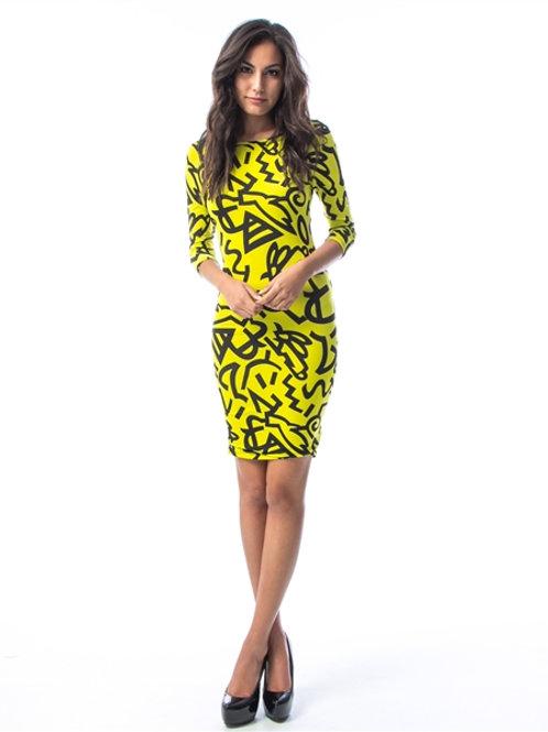 Neon Mix Pattern Sheath Dress