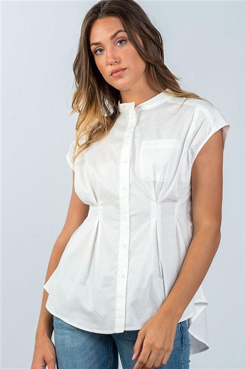 White One Pocket Cap Sleeve Blouse