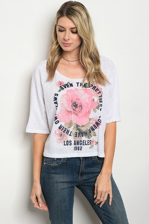 White Pink Graphic Tee Top