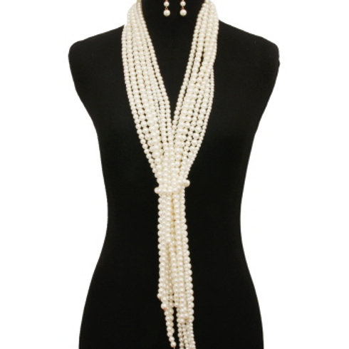 Multi Layered Pearl Necklace Set