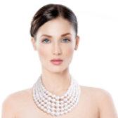 White pearl graduated five strand set