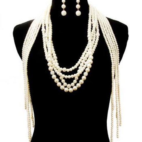 Long Pearl Drop Necklace Set