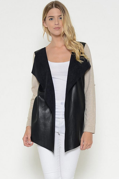 Faux Leather Drape Front Cardigan