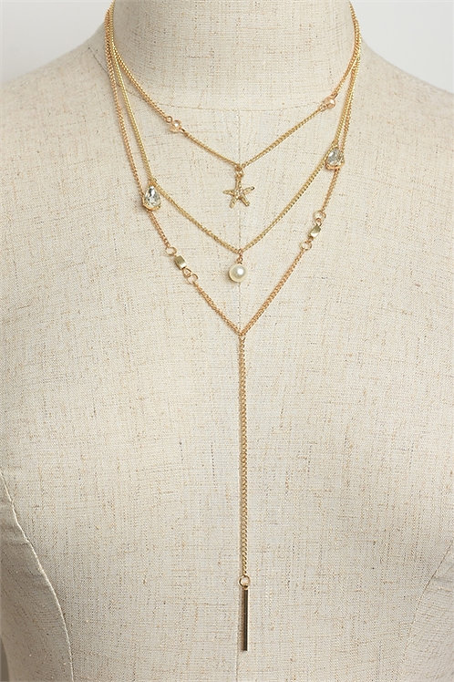 Starfish Design Triple Chain Necklace