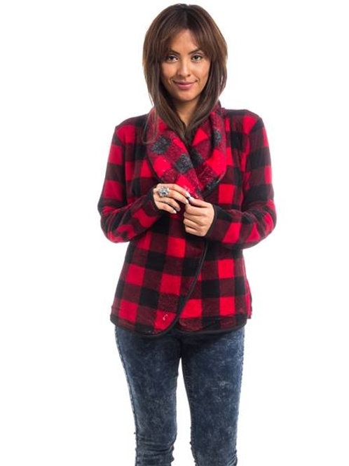 RED PLAID PLUSH JACKET