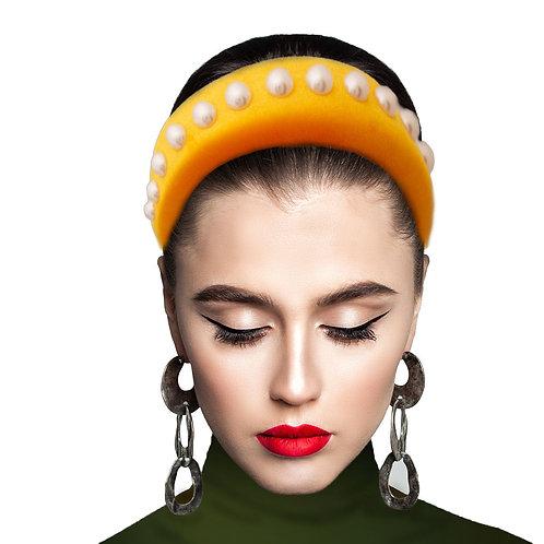 Yellow Pearl Prada Style Headband