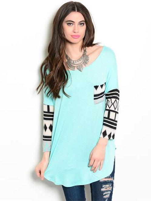 Aqua Aztec Shirt