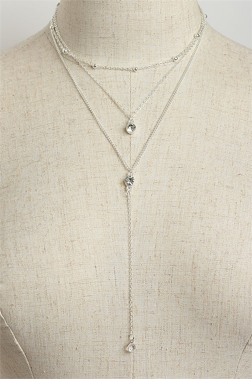 Triple Stone Layer Chain Necklace