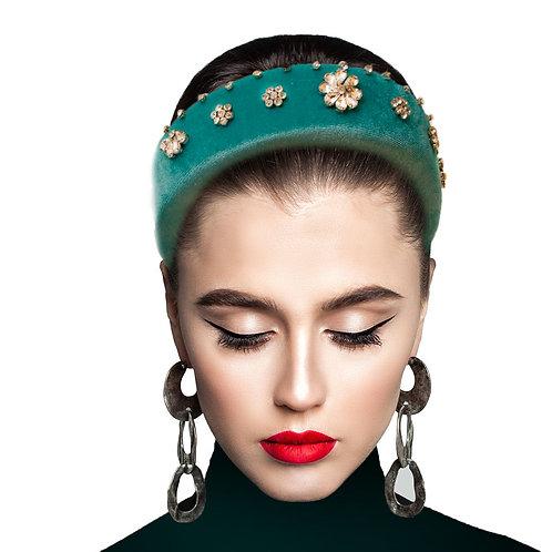 Turquoise Velvet Prada Style Headband