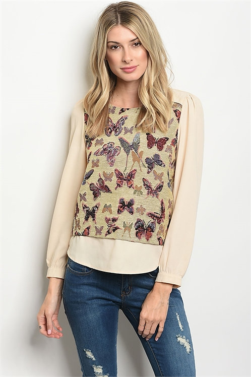 Beige Butterfly Print Top