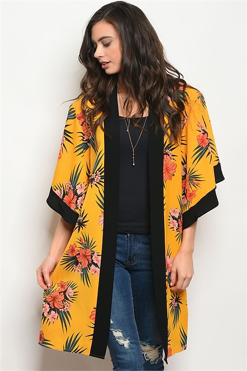 Mustard Floral Kimono