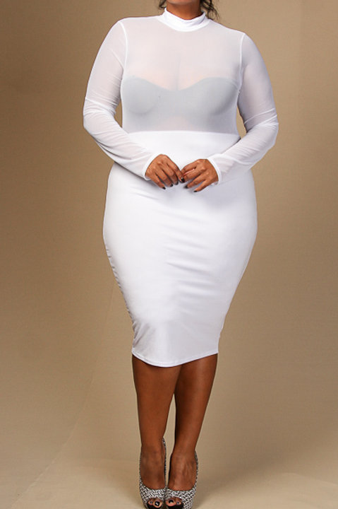 White Mesh Plus Dress
