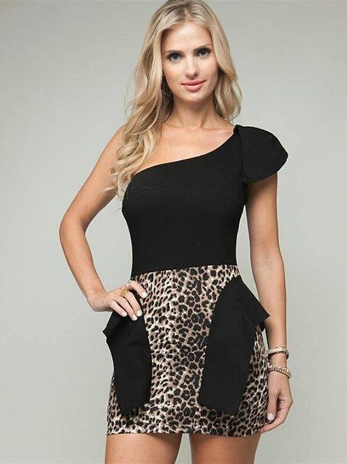 Black and Animal Print Dress
