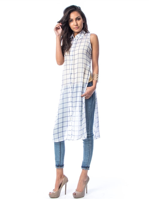 WHITE CHECKER SHEER LONG CHIFFON BLOUSE