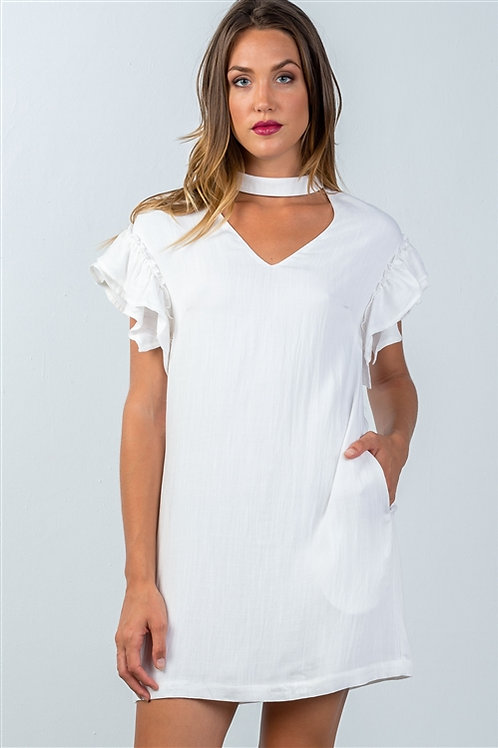 Ivory Ruffle Sleeve Choker Cutout Shift Dress