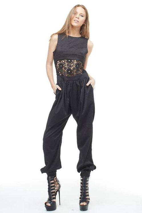 Black Flourish In Lace Jumpsuit