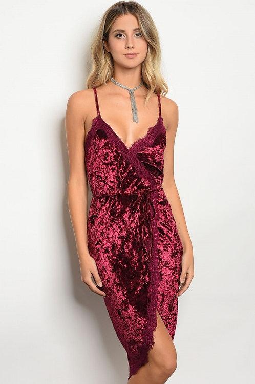 Wine Velvet Dress