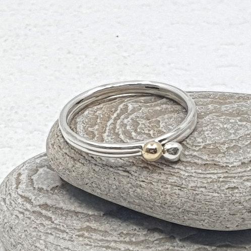 Gold & Silver Molten Dot Stacker Ring Set