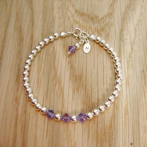 Crystal & Silver Beaded Bracelet